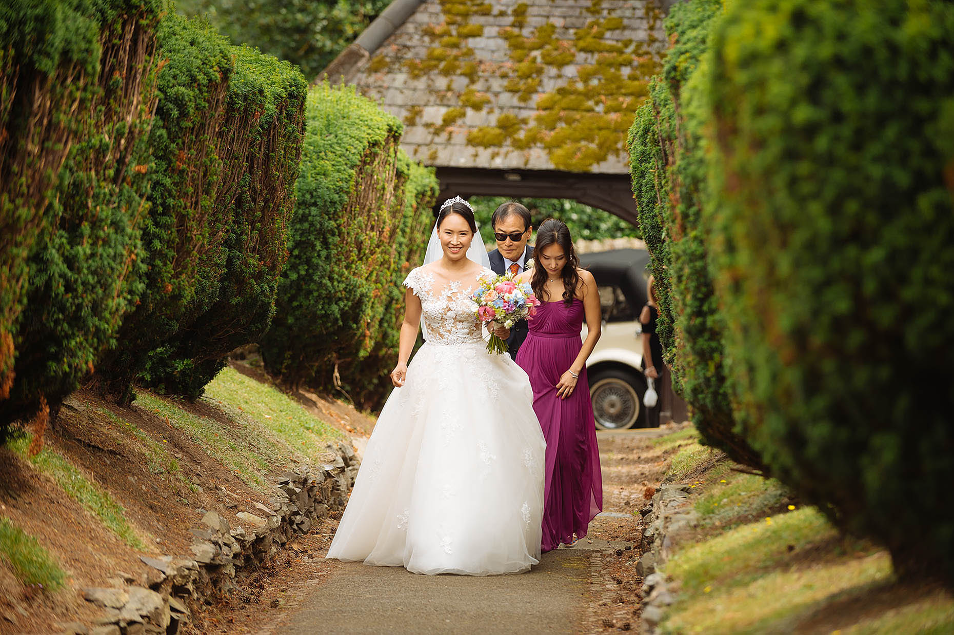 beaumanor-hall-wedding-bride-church-chay-dress-happy-walking-04