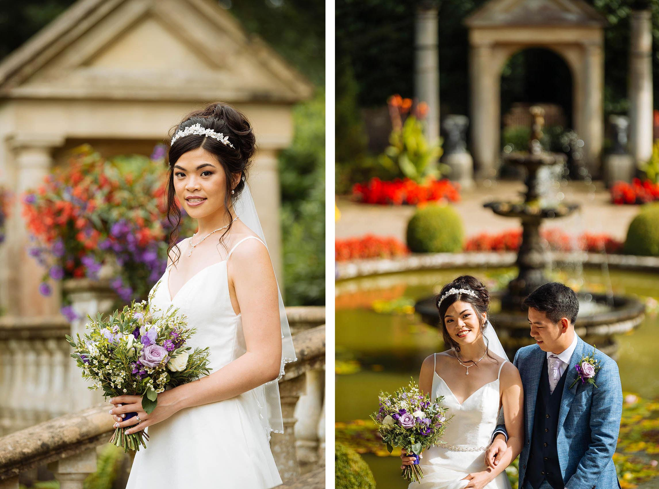 bride-groom-portrait-italian-villa-gardens-natural-dorset-wedding-photographer